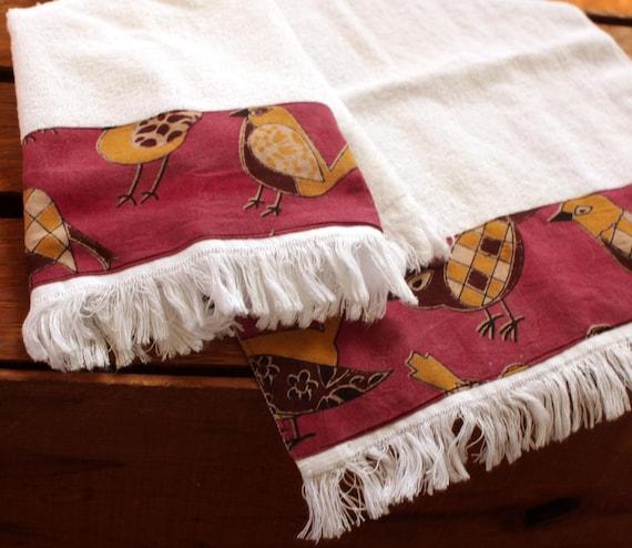 Pink Birds Fringed Fingertip Towels India Block Print Kitchen Etsy