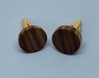 Handmade Wooden Cufflinks, Zebrano Wood, Chrome Accents. Presented in a Pouch.