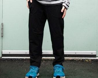JESSE//Kids bamboo jogger, soft seamless kids pants with pocket, boys girls clothes, sensory smart, black