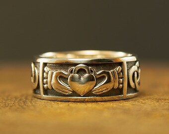Sterling Silver Claddagh Ring, Claddagh Wedding Ring, Irish Wedding Ring, Ireland Ring, Promise Ring, Engagement Ring, Friendship Ring