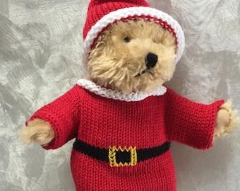 Teddys handgestrickter  Pullover  für Teddy Bär oder Puppe  türkis mit Pinguin