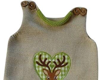 Baby romper, knitted romper, romper, baby pants, hisch, embroidery deer, fabric applique deer, deer applique, beige, green