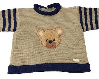Babypulli, children's sweater, pullover, sweater, bear-neck, plush bear, embroidery, application, beige, blue, strips, various sizes