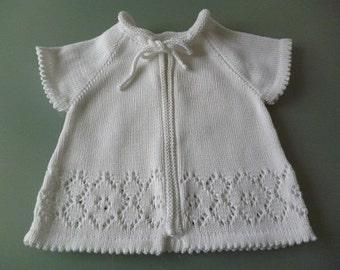 Taufjäckchen, Taufjacke, children's jacket, Babyjacke, short sleeve jacket, Babyjacke short sleeve, hole pattern, baptism, baptismal gift, baptismal clothing,