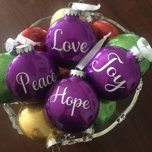 Set Of 4 Joy Hope Peace And Love Glitter Gift Ornaments Etsy