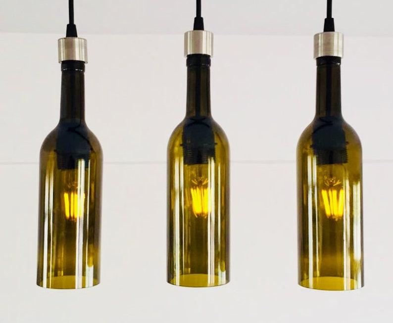Industrielle leuchte leuchter deckenlampe aus weinflaschen etsy