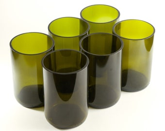12 oz Wine bottle Glasses | Upcycled Tumblers | Eco Drinking Cups | 350ML Restaurant Water Glasses