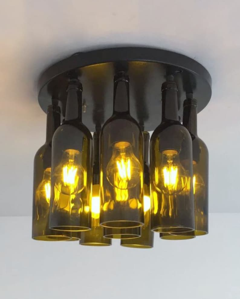 eb7fe79286dd WINE BOTTLE Industrial Light fixture Chandelier Made from   Etsy