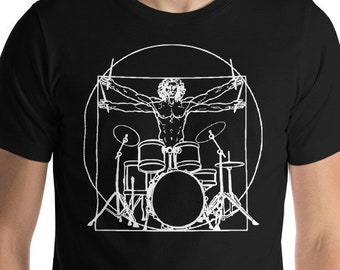 97ee1b7a63 Drummer Gifts - Drumming Gift for Boyfriend - Da Vinci Drummer Tshirt -  Gifts for Drummers - Shirts for Men - T Shirt