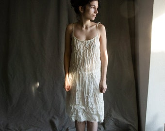 White linen dress MORNING. Linen gauze night gown, nightdress slip dress pyjama see-through dress lounge linen women's clothing camisole
