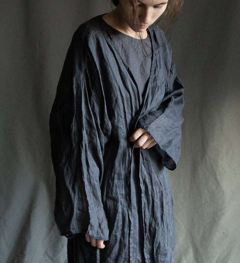 b307ae316 Plus size Ready to ship. Women's linen robe FOG. Linen | Etsy