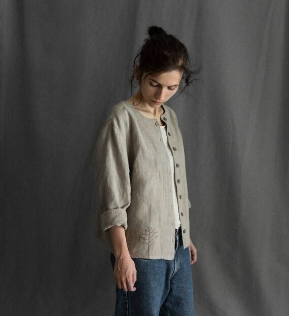 Damen Kleidung Jacke mit Jacke Stammes rustikale PatchesLeinen Boho Blazer Leinen Jacke blazer Abenteuer Leinen Mantel Boho Frauen YyIbv76fg