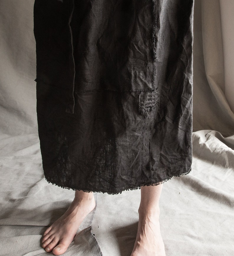 boro Black linen skirt made of separate scraps with raw hem and patches BLUR linen dress 100/% natural linen women/'s clothing drawstring