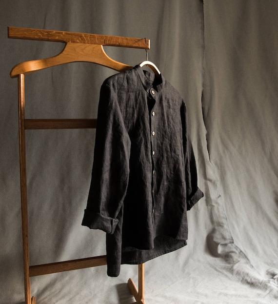 Leinen Herren Shirt Leinen Herren Kleidung Leinen schwarzes Hemd für Mann grau Leinen Langarm Shirt Leinen T shirt lose Leinen Shirt geknöpft