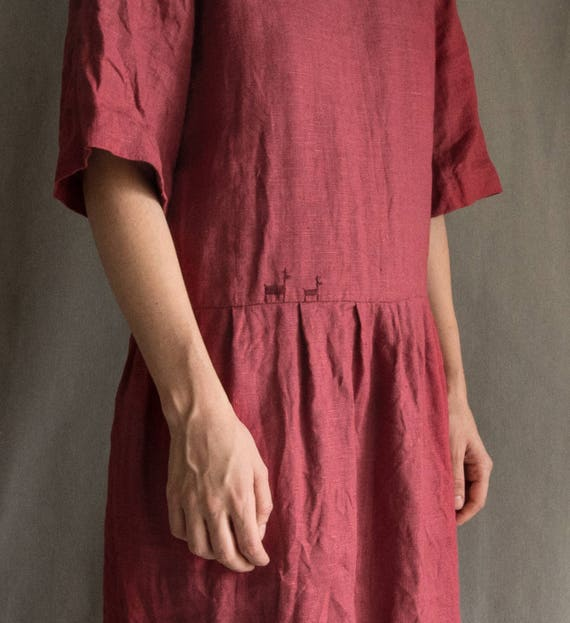 7c7c4071bb Linen dress burgundy linen dress pink embroidered linen dress