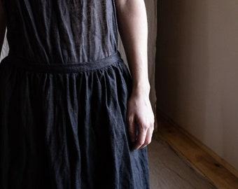 Black linen skirt MADICKEN. Crinkled flax skirt dark distorted raw hem avant garde womens skirt button fly vintage antique creases pleats
