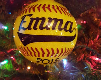 Softball ornament | Etsy