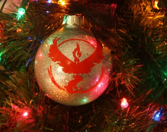 Personalized Team Valor Glitter Christmas Ornament ~ Custom Pokemon Ornament With Name and Year