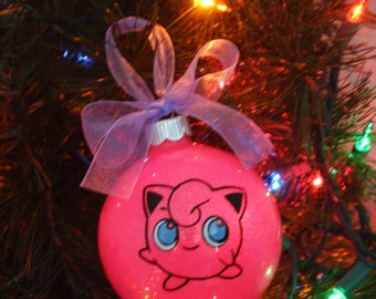 Personalized Pokemon Jigglypuff  Glitter Christmas Ornament ~ Custom Pokemon Ornament With Name and Year