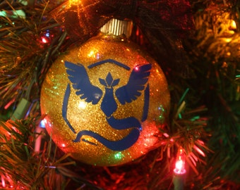 Personalized Team Mystic Glitter Christmas Ornament ~ Custom Pokemon Ornament With Name and Year
