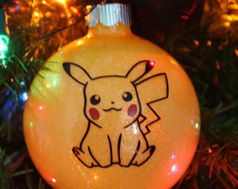 Personalized Pokemon Pikachu Glitter Christmas Ornament ~ Custom Pokemon Ornament With Name and Year