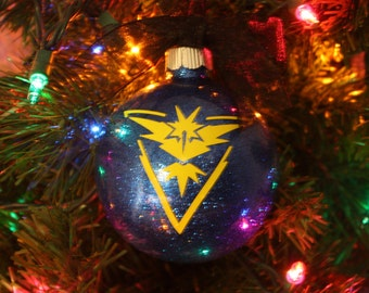 Personalized Team Instinct Glitter Christmas Ornament ~ Custom Pokemon Ornament With Name and Year