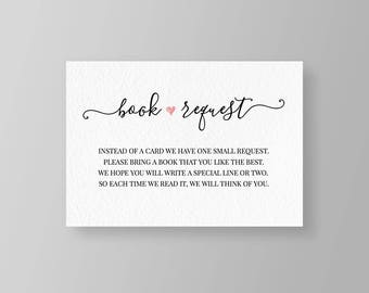 Book Request, Baby Shower Bring a Book, Baby Library, Printable Baby Shower Invitation Insert Card, Instant Download, DIY, Templett #015BR