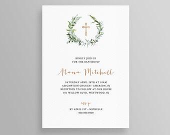 Baptism Invitation Printable, Girl or Boy, Greenery Wreath Christening Invite, INSTANT DOWNLOAD, Editable Template, Printable, DIY #074BC2