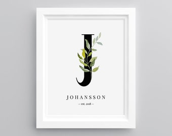 printable monogram decor letter j personalized family name baby name newly married gift diy instant download editable template 068wa