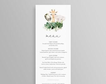 Safari Party Menu Card, Cute Baby Animals Menu Template, Printable Dinner Menu, 100% Editable Template, Instant Download, Templett #118ME