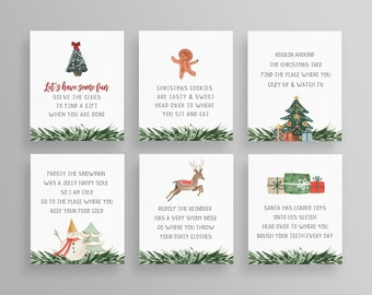 Christmas Treasure Hunt Game Cards, Printable Gift Scavenger Hunt, Holiday Family Game, Editable Template, Instant Download, Templett #TH02