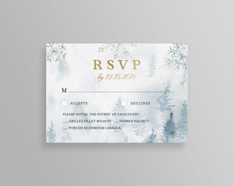 winter rsvp card template pine tree rsvp baby shower bridal shower wedding rsvp 100 editable text instant download printable 087rs