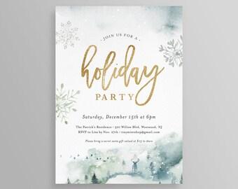 winter party invite etsy