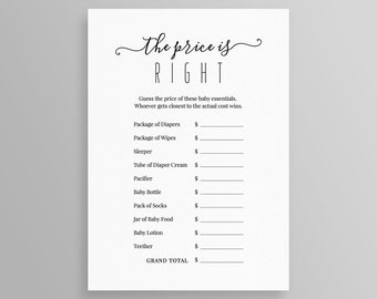 graphic regarding Baby Shower Price is Right Printable known as Editable kid shower Etsy