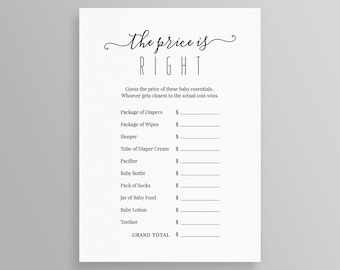 baby shower price is right template editable