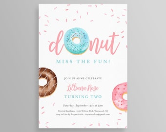 Donuts Birthday Party Invitation Printable, Donut Miss the Fun Invite, Self-Editable Template, INSTANT DOWNLOAD, Templett, DIY #083BD