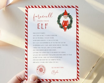 Goodbye Letter from Elf, Christmas Note, 100% Editable Template, Choose Your Elf, Girl or Boy, Instant Download, Templett, 8.5x11 #LFE01