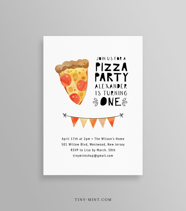 Pizza Party Invitation Template Birthday Invite DIY Making 100 Editable Text Printable Instant Download Templett 099BD2