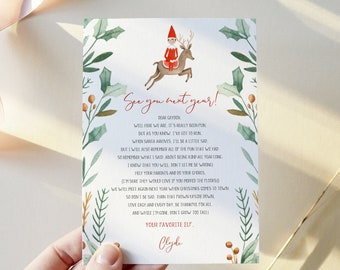 Goodbye Letter from Elf, 100% Editable Template, Choose Your Elf, Girl or Boy, Instant Download, Templett, 8.5x11 #LFE03D