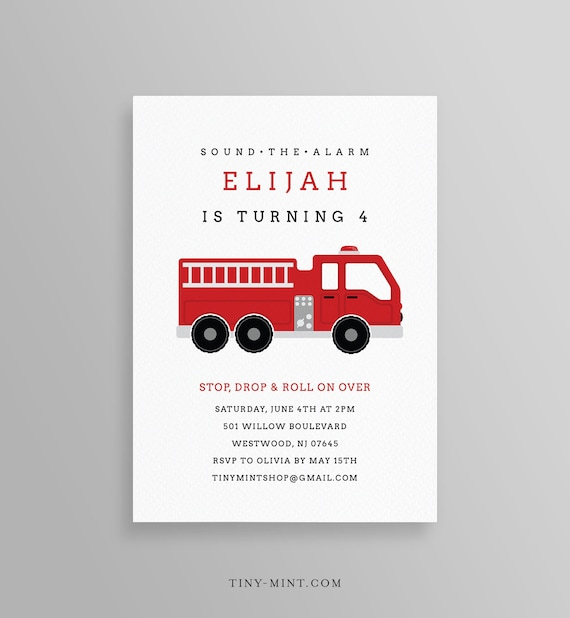 image about Fire Truck Template Printable known as FireTruck Birthday Get together Invitation Template, Printable Hearth Truck Invite, Firefighter, Editable Phrases, Immediate Down load, Templett #108BD2