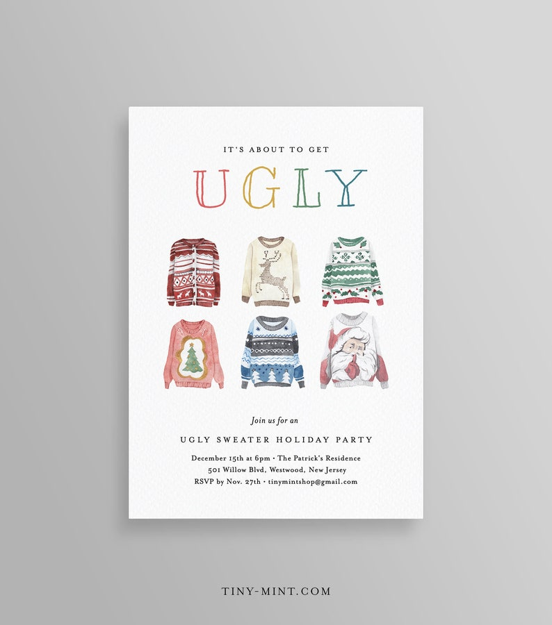 Ugly Sweater Party Invitation Template Printable Christmas Etsy