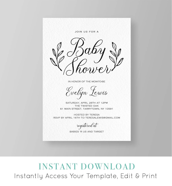 Baby Shower Invitation Template Printable Rustic Baby Shower Etsy