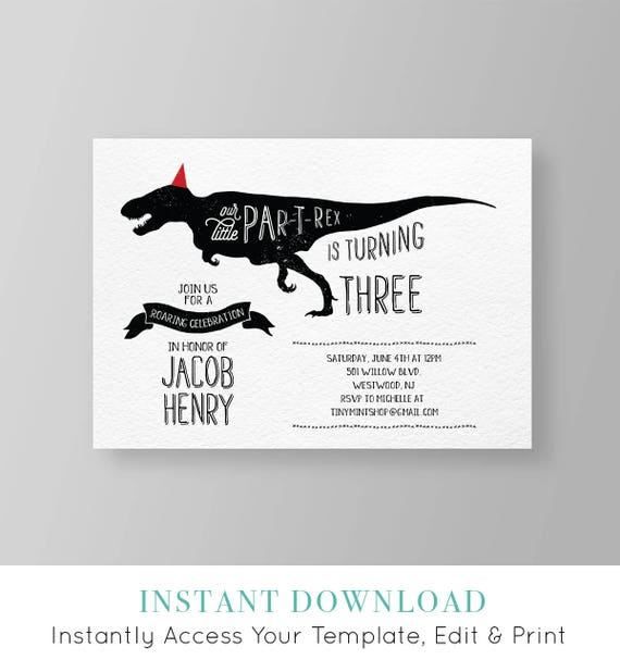 Dinosaur Birthday Party Invitation Boy Invite
