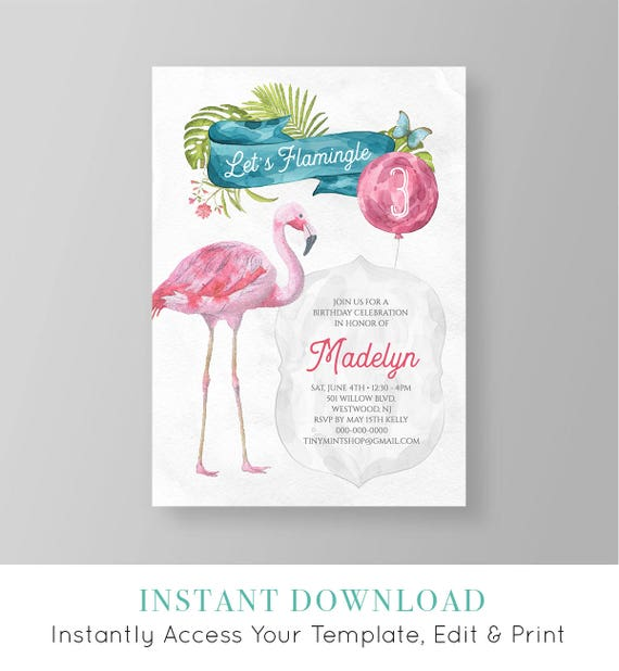 photo relating to Printable Flamingo Template titled Flamingo Birthday Invitation Template Enables Flamingle Celebration Invite Printable Quick Down load Do-it-yourself Thoroughly Editable Templett #046GBD