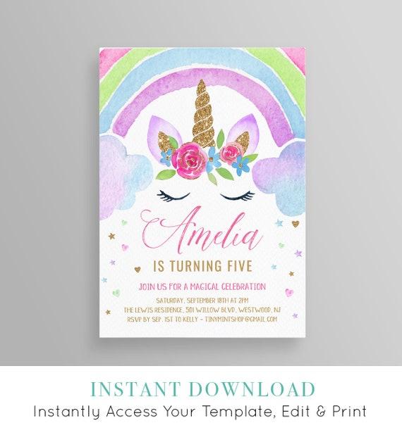 unicorn birthday invitation instant download rainbow unicorn etsy