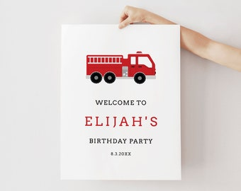 Firetruck Welcome Sign Template, Fire Truck Birthday Poster Sign, 100% Editable Text, Instant Download, Templett, 18x24, 24x36 #108WS
