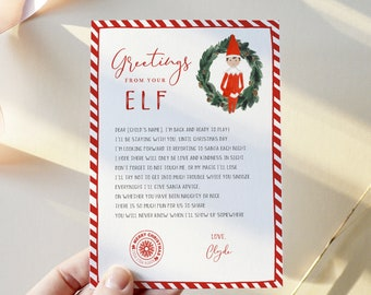 Hello Letter from Elf, Elf Arrival Note, 100% Editable Template, Choose Your Elf, Girl or Boy, Instant Download, Templett, 8.5x11 #LFE02