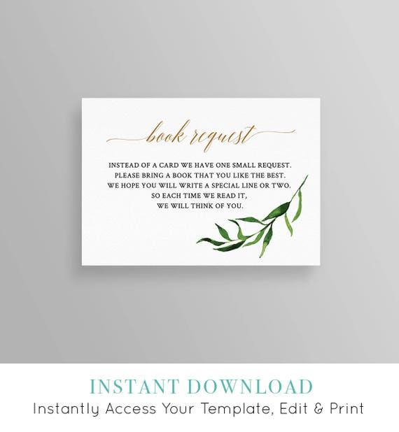 Instant download fully editable RC0153 Book Request Card Template bring a book printable virtual baby shower Baby Shower book for baby