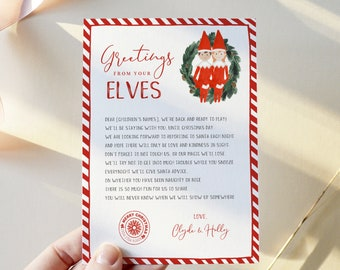 Hello Letter from Elves, Elf Arrival Letter, 100% Editable Template, Choose Your Elf, Girl or Boy, Instant Download, Templett, 8.5x11 #LFE02