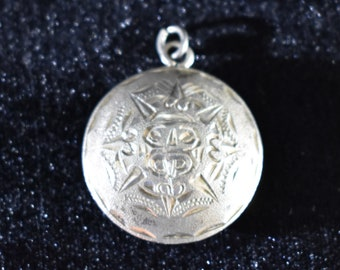 Vintage Mexican Sterling Silver Hammered and Carved Medallion
